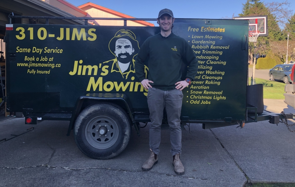 Steve Stabile our Jim's Mowing franchisee in Victoria in front of trailer