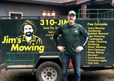 Dave Damery our Jim's Mowing franchisee in Courtenay Comox in front of trailer