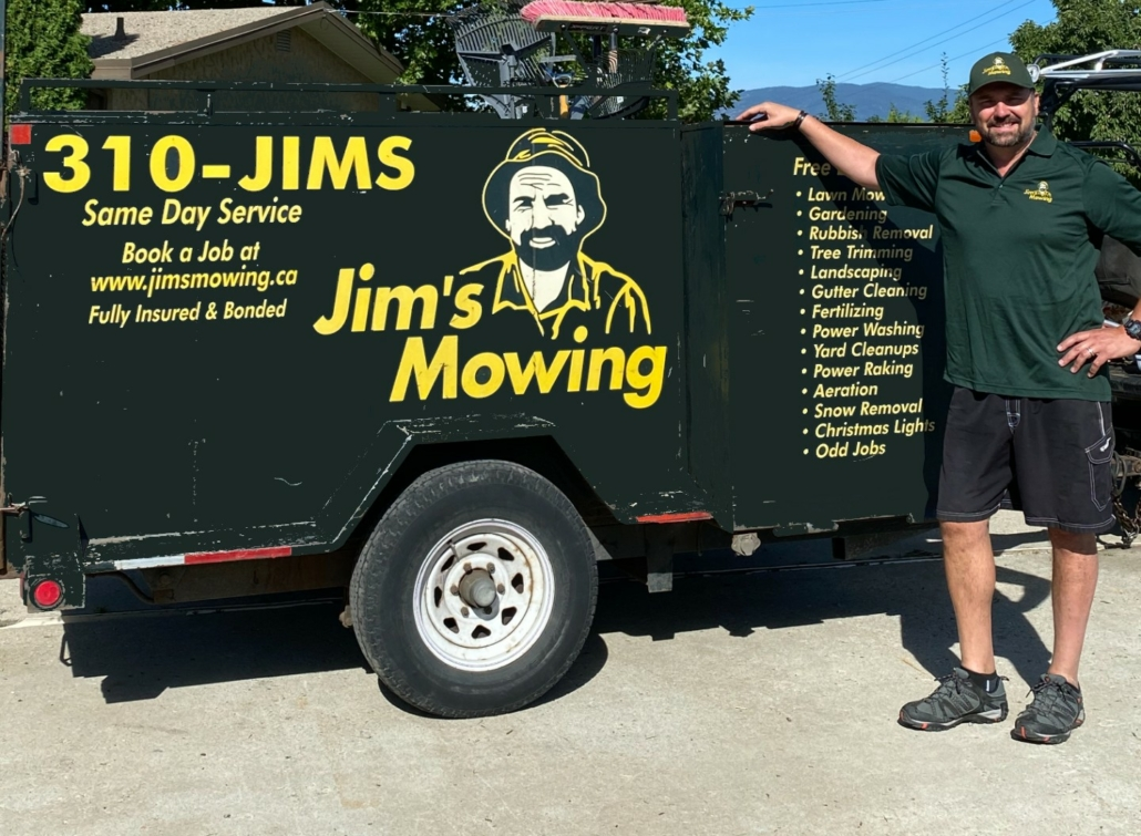 Dave Marttila our Jim's Mowing franchisee in Vernon and Coldstream in front of trailer